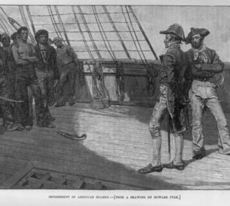 """Impressment of American Seamen,"" wood engraving after a drawing by Howard Pyle, Harper's Monthly, April 1884"