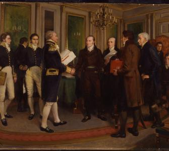 The Signing of the Treaty of Ghent, Christmas Eve, 1814, oil on canvas by Sir Amédée Forestier, 1914