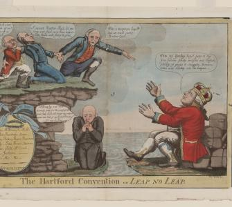 "A satirical print depicted Federalist Timothy Pickering, a radical secessionist, praying for Massachusetts, Connecticut, and Rhode Island to ""make the leap"" of leaving the Union, while King George III of Great Britain tempted them with trade benefits."