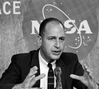 Representative George P. Miller of California at a press conference, National Aeronautics and Space Administration (NASA) Manned Spacecraft Center, Houston, Texas, November 16, 1965