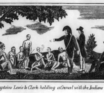 """Captains Lewis and Clark Holding a Council with the Indians,"" etching by Patrick Gass, Journals of the . . . Corps of Discovery, 1810"