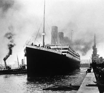 The Titanic sets out from the White Star Line dock at Southampton, England, photograph by Ralph White, April 10, 1912