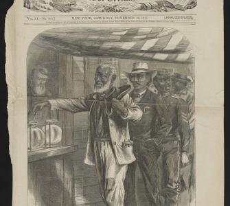 """The First Vote,"" illustration by A.R. Waud, Harper's Weekly, November 16, 1867"