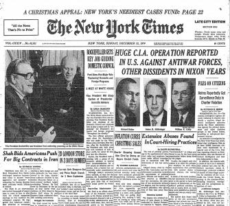 """Huge C.I.A. Operation Reported in U.S. against Antiwar Forces . . . ,"" by Seymour Hersh, New York Times, December 22, 1974"