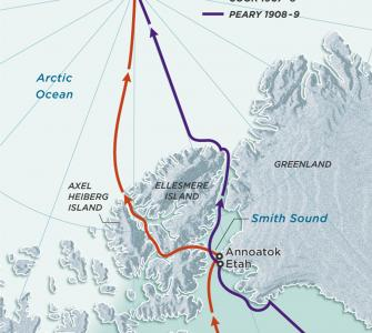 The Claimed Routes of Dr. Frederick Cook and Commander Robert Peary to the North Pole, map by Guilbert Gates, 2009
