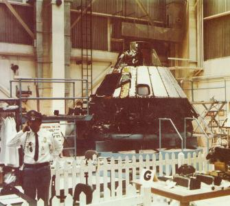 Apollo Command Module 204 in final disassembly at the Pyrotechnics Installation Building at the Kennedy Space Center, photograph, ca. 1967