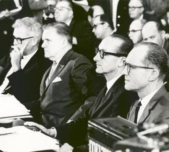 National Aeronautics and Space Administration officials before the Senate Committee on Aeronautical and Space Sciences, photograph, May 9, 1967