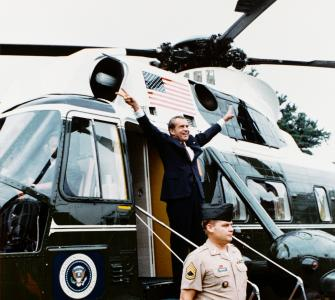 President Richard M. Nixon's final departure from the White House, photograph by Robert L. Knudsen, August 9, 1974