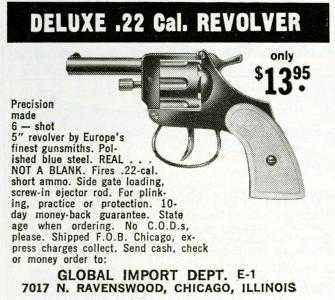 Global Import Company advertisement for Deluxe .22 Caliber Revolver, <i>Firearms Magazine</i>, 1965