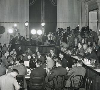 House Un-American Activities Committee preparing to question actor Gary Cooper as a witness, photograph by Acme Photographs for New York World-Telegram and the Sun, October 1947