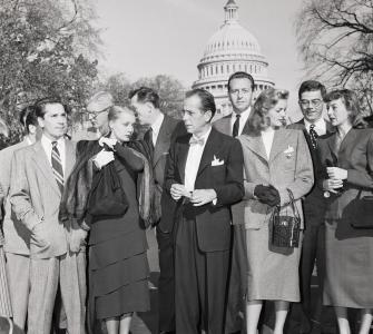 Hollywood celebrities in Washington, D.C., to protest HUAC investigation of alleged Hollywood Communism, photograph, October 27, 1947