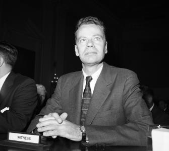 Charles Van Doren testifying before the House Special Subcommittee on Legislative Oversight, photograph, November 2, 1959