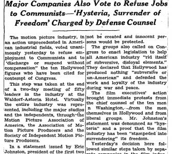 """Movies to Oust Ten Cited For Contempt of Congress,"" The New York Times, November 26, 1947"