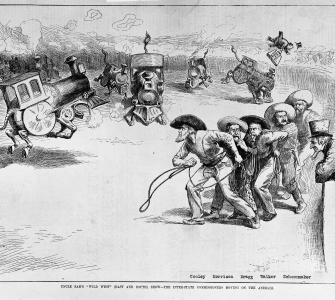 """Uncle Sam's 'Wild West' (East and South) Show"", cartoon by William A. Rogers, Harper's Weekly, April 9, 1887"