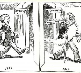 """1826–1912,"" cartoon by Guy R. Spencer, The Senate, 1789–1989, 1912"