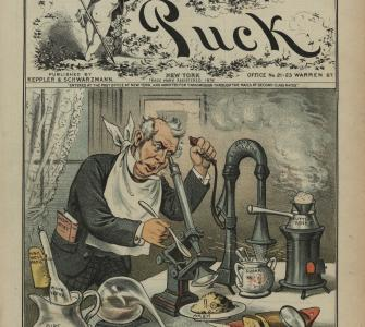 """Look before you eat . . . ,"" chromolithograph by Frederick Burr Opper, Puck, March 12, 1884"