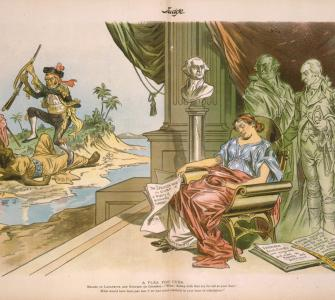 """A Plea for Cuba,"" color lithograph by Victor F. Gillam, Judge, October 19, 1895"
