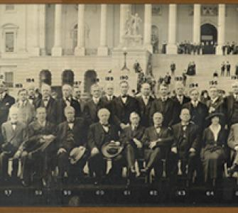 65th Congress (1917–1919) in front of the U.S. Capitol, Washington, D.C., photograph, ca. 1918