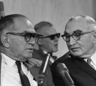Senator William Fulbright of Arkansas (left) with Senator Wayne Morse of Oregon during a Senate Foreign Relations Committee Hearing . . ., photograph by Warren K. Leffler, 1966
