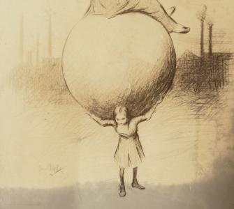 Girl carrying a globe with a fat businessman sitting on top (detail), drawing, ca. 1912