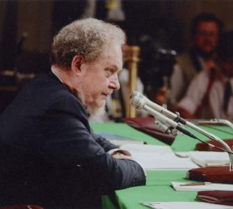Robert Bork at Senate Confirmation Hearing, photograph, September 1987