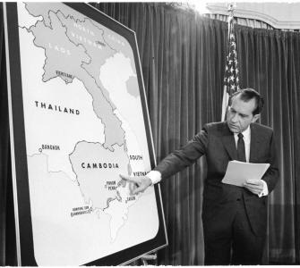 President Richard Nixon Points to a Map of Cambodia during a Vietnam War Press Conference, photograph by Jack E. Kighlinger, April 30, 1970