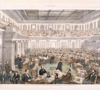 """The Senate as a Court of Impeachment for the Trial of Andrew Johnson,"" wood engraving by Theodore R. Davis, Harper's Weekly, April 11, 1868"