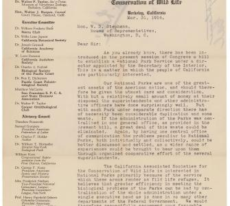Petition in support of national parks from the California Associated Societies for the Conservation of Wildlife, March 31, 1916