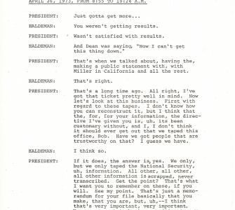 Transcript of meeting between President Richard M. Nixon and H.R. Haldeman on April 26, 1973