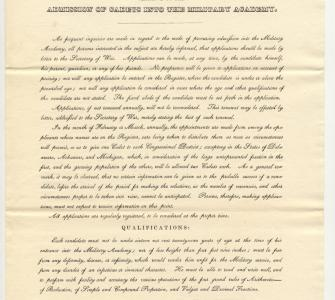 Regulations relative to the admission of cadets into military academy by B.F. Butler, Secretary of War, February 15, 1837
