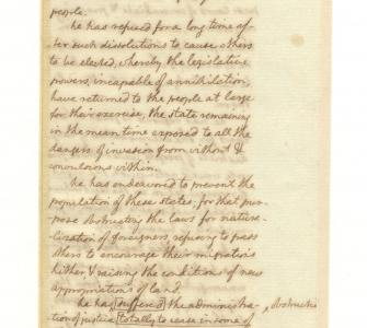 Thomas Jefferson's notes on drafting the Declaration of Independence. June 1776