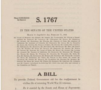 S. 1767, Servicemen's Readjustment Act of 1944, GI Bill of Rights