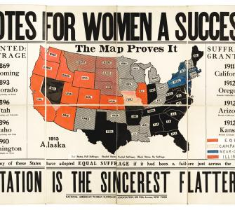 "Map, ""Votes for Women a Success: The Map Proves It,"" ca. 1914"