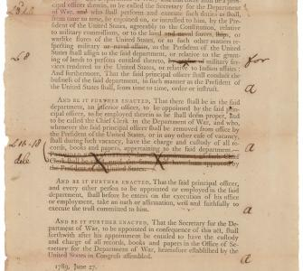 An Act to establish the Executive Department to be denominated the Department of War, June 27, 1789, with Senate annotations
