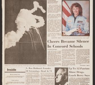 """Shuttle Explodes,"" Concord Monitor, New Hampshire, January 28, 1986"