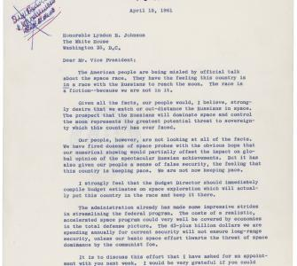 Letter from Representative David S. King to Vice President Lyndon B. Johnson, April 15, 1961