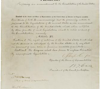 Joint Resolution proposing the Fifteenth Amendment to the U.S. Constitution