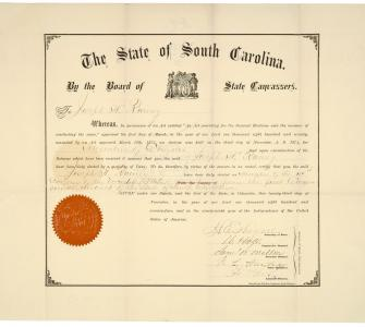 Certificate of Election for Representative Joseph Rainey, 1870