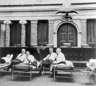 Senators rest in the Old Senate Chamber
