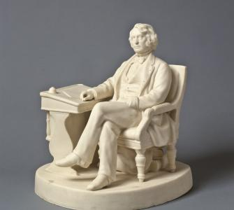 This porcelain sculpture, by John D. Perry, depicts the Massachusetts senator at his Senate Chamber desk.  Collection of The Newark Museum, Gift of Miss Sara Carr, 1924