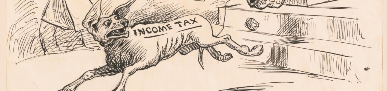Exit! Income taxes, drawing by George Yost Coffin, 1895