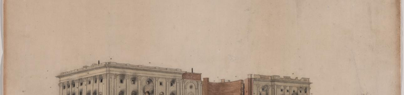 The U.S. Capitol after Burning by the British, ink and watercolor on paper by George Munger, ca. 1814