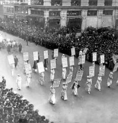 In 1913, women suffragists staged demonstrations in major cities as the fight for the right to vote intensified.