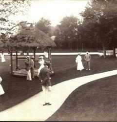 Affluent society enjoyed luxurious surroundings like these grounds of a casino at Newport, Rhode Island.