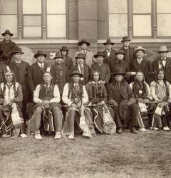 Tribal leaders, including these Arapaho and Cheyenne delegates, negotiated with federal authorities in Washington, D.C.