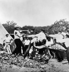 On July 28, 1932, Washington police, along with the U.S. Army, forcibly evicted Bonus Marchers from their campsite along the Anacostia River.