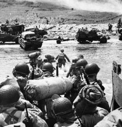 American troops prepare to land at Normandy, World War II.