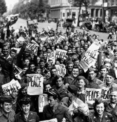 American soldiers in Paris celebrated Japan's surrender, which ended World War II in August 1945.