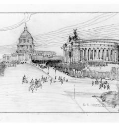 Proposed design for the Lincoln Memorial on the Capitol grounds, by Daniel Burnham, ca. 1910.