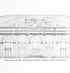 Proposed design for a new Senate Chamber with windows, by Carrère & Hastings, 1924.